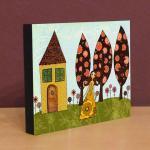 Small Art Block Print Poppy's Garde..