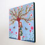 Large Wood Block Print Whimsical Gi..