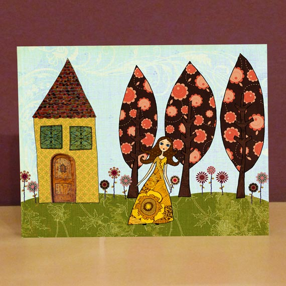Small Art Block Print Poppy's Garden