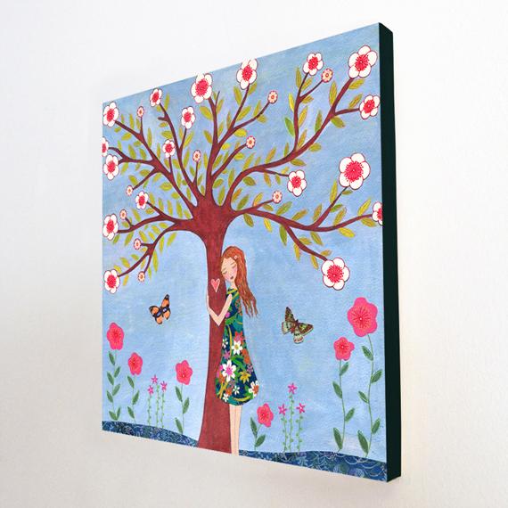 Large Wood Block Print Whimsical Girl Painting - Love Nature