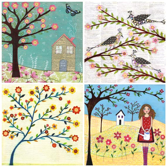 "Art Print Set 5"" by 5"" - Flowers,Birds and Houses"